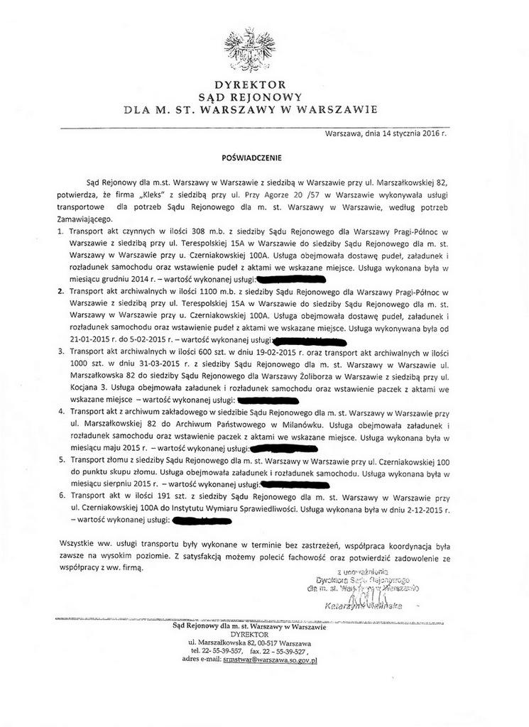 opinia dyrektora sądu rejonowego w Warszawie