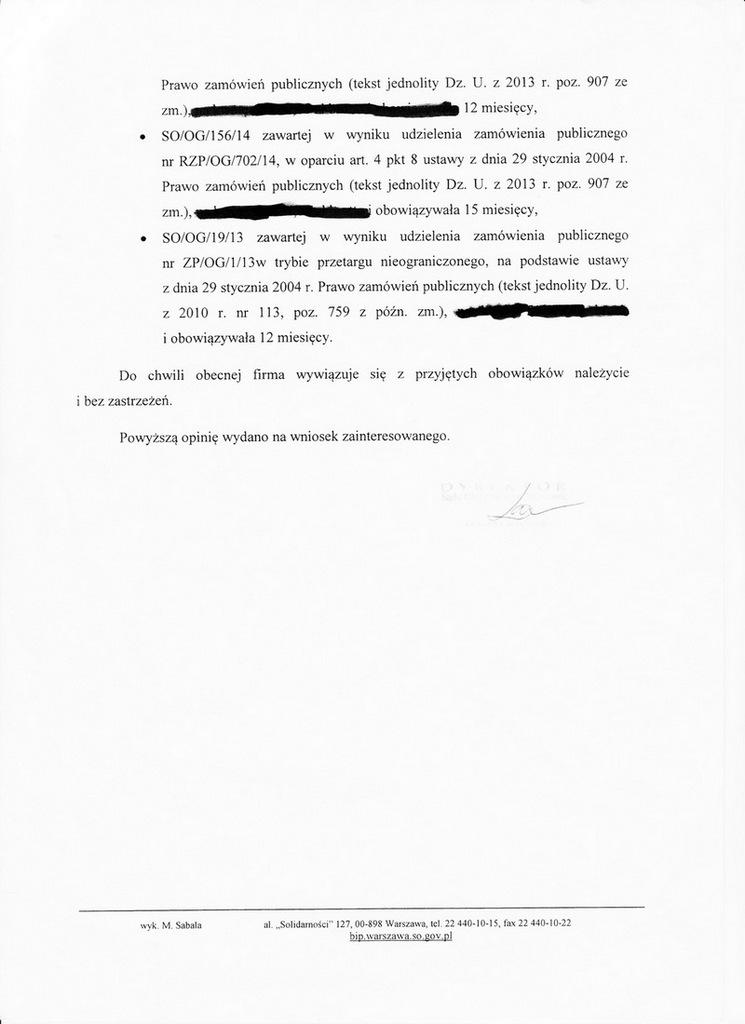 opinia klienta Sąd Okręgowy w Warszawie