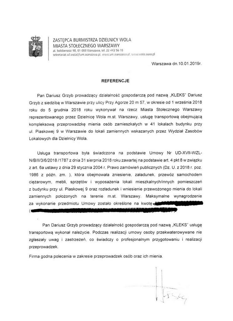 opinia o naszej firmie burmistrza Dzielnicy Wola miasta stołecznego Warszawa